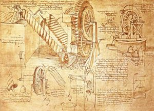 Drawings of various inventions by Leonardo da Vinci