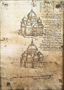 Two of Leonardo's Sketches of Churches