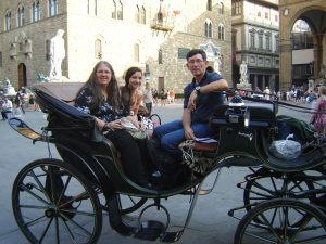 Dan, Sonia, and I on our horse and carriage ride across Florence, Italy.
